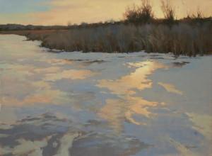 """""""November Dusk on Silver Lake"""" - 18""""x 24"""" - Oil"""