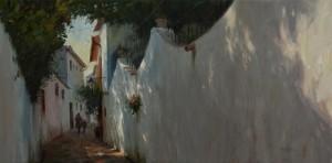 """""""Alleyway, Ronda, Spain"""" - 14"""" x 28"""" - Oil"""
