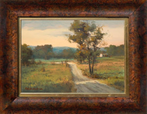Frame selection is like the landscaping around your property. It can enhance or detract. This frame really brings out the color in the painting, but does not overwhelm.