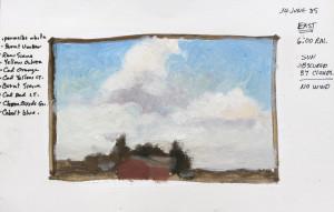 """Cloud Study"" - An early field study on gessoed paper...5.5"" x 8.5"""