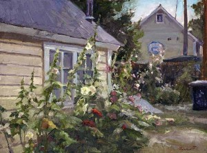 "Friedland - ""Hollyhock Lane"" - 18"" x 24"" - Oil  William J. Schultz Award, American Impressionist Society National Exhibition 2012)"