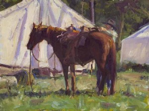 "Friedland - ""Saddling Up"" - 14"" x 18"" - Oil  (Oil Painters of America Central Region 2007, Best painting by a Signature Member)"