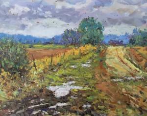 "Bob Beck - ""Rain on the Farmland"" - 16"" x 20"" - Oil  (Award of Merit)"