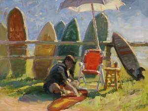 """Nancy Boren - """"One Man Surf Shop"""" - 12"""" x 16"""" - Oil  (Honorable Mention)"""