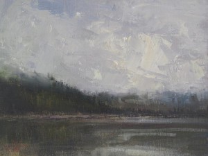 "Lamya Deeb - ""Misty Morning, Phelps Lake"" - 9"" x 12"" - Oil  (Award of Merit)"