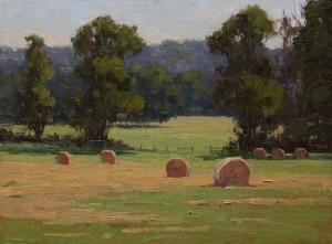 """Diane Frossard - """"Hay Meadow"""" - 9"""" x 12"""" - Oil  (Award of Merit)"""
