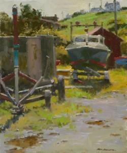 """Ned Mueller - """"Safe Harbor"""" - 10"""" x 12"""" - Oil  (Award of Merit)"""