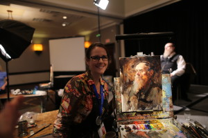Suzie Baker with her painting