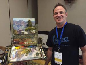 Mitch Baird demonstrates his landscape painting techniques.
