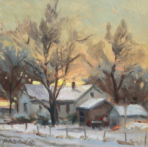 """""""Rural Winter"""" (Study) - 4.5"""" x 4.5"""" - Oil on paper"""
