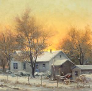 """Rural Winter"" - 14"" x 14"" - Oil"