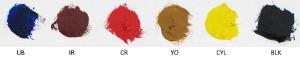 White, Ultramarine Blue, Indian Red, Cadmium Red, Yellow Ochre, Cadmium Yellow Light, Chromatic Black