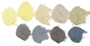 The major color and value mixtures found in the snow...from lightest light to  darkest dark