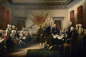 Committee of five presenting their draft of the Declaration of Independence. Painting by: John Trumbull.
