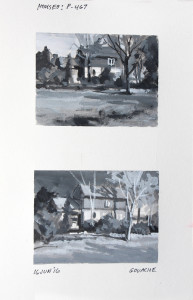 """Eliminating color allows us to concentrate on value and composition, making it much easier to try different concepts. Each study is 2.62"""" x 3.5"""" - Gouache on paper."""