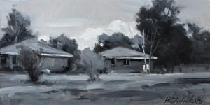 """Painted en plein air, 3.75"""" x 7.5"""" - Oil on gessoed paper"""