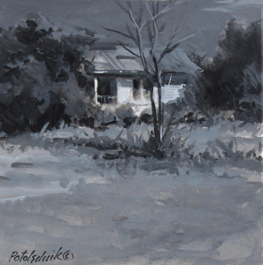 """Deserted Wylie, Texas House"" - 4.5"" x 4.5"" - Gouache on paper"