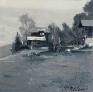 """Grindelwald, Switzerland"" - 4.5"" x 4.5"" - Oil on gessoed paper"