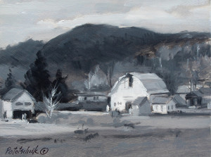 """""""Vermont Barn"""" - 3.75"""" x 7.5"""" - Oil on gessoed paper."""