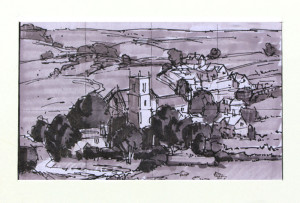 """Sketch has been cropped in order to be proportional to 6"""" x 10"""", 12"""" x 20"""", 18"""" x 30"""", etc.Notice some of the foreground and sky had to be removed. Felt pen and gray markers - 3.75"""" x 6""""."""