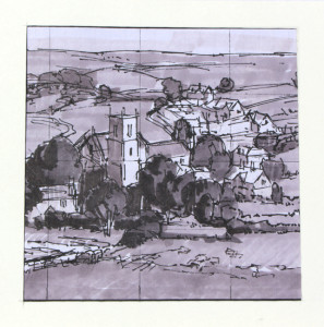 """Square composition. Felt pen and gray markers - 4.5"""" x 4.5""""."""