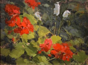 """Geraniums and Peace Lilies"" - 11"" x 14"" - Oil"