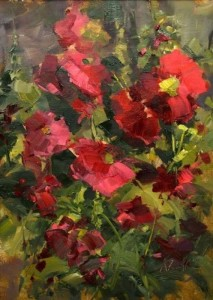 """Hollyhocks"" (Plein Air) - 12"" x 9"" - Oil  (Best Floral, PleinAir Magazine Salon, 2013)"