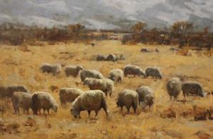 """Grazing Sheep"" - 24""x 36"" - Oil"