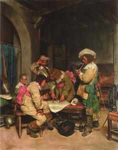 """Jose Villegas y Cordero (1848-1922) - """"A Good Plan"""" - 16"""" x 12.5"""" - Oil"""