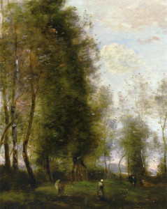 """Jean-Baptiste-Camille Corot (1796-1875) - """"A Shady Resting Place"""" - 18.5"""" x 15"""" - Oil   ((1873)"""