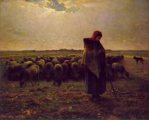 "Jean FFrancois Millet (1814-1875) - ""Shepherdess With Her Flock"" - 32"" x 39.75"" - Oil  (1864)"