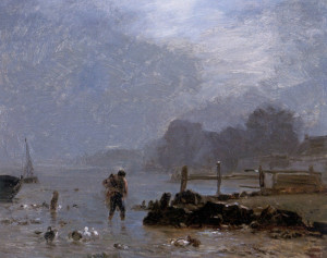 """Constant Troyon (1810-1865) - """"The Fisherman"""" - Oil"""
