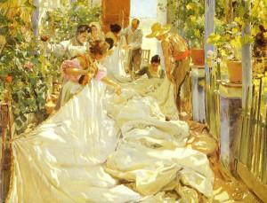 "Joaquin Sorolla y Bastida - ""Cosiendo La Vela"" - 86.61"" x 118.9"" - Oil   (1896)"
