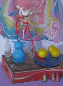 "Melissa Hefferlin - ""The Rabbit's Three Daisies"" - 32"" x 23.5"" - Oil"