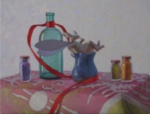 """Melissa Hefferlin - """"The Winged Rabbit's Landing"""" - 15"""" x 18"""" - Oil"""