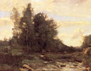 """Jean-Baptiste Camille Corot (1796-1875) - """"Le Torrent Pierreaux"""" - 19.76"""" x 24.25"""" - Oil"""
