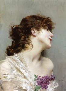 "Giovanni Boldini (1842-1931) - ""A Beauty with Lilacs"" - 22"" x 15.75"" - Oil"