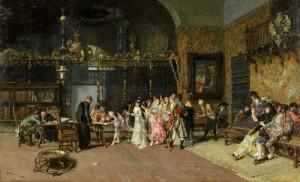 """Mariano Fortuny y Marsal (1838-1874) - """"Spanish Wedding"""" - 24"""" x 36.8"""" - Oil"""