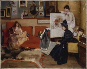 """Alfred Stevens (1823-1906) - """"In the Studio"""" - 42"""" x 53.5"""" - Oil"""