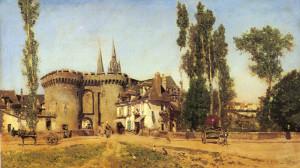 """Martin Rico y Ortega (1833-1908) - The Village of Chartres"""" - 16.54"""" x 28"""" - Oil"""