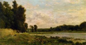 "Charles Francois Daubigny (1817-1878) - ""Washerwoman by the River"" - 7.76"" x 13.74"" - Oil"
