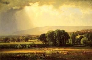 """George Inness (1825-1894) - """"Harvest Scene in the Delaware Valley"""" - 30.25"""" x 45.25"""" - Oil  (1867)"""