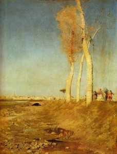 """Givseppe de Nittis (1846-1884) - """"I Pioppi"""" - 16"""" x 12.76"""" - Oil  (1870)"""