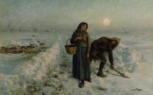 "Jules Breton (1827-1906) - ""Sur la Route en Hivor, Artois"" - 30.51"" x 58"" - Oil"