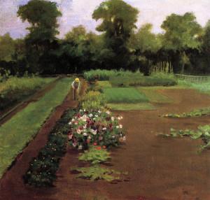 """James Carroll Beckwith (1852-1917) - """"New Hamburg Garden"""" - 15"""" x 16"""" - Oil  (1910)"""