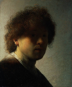 """Rembrandt (1606-1669) - """"Self Portrait at an Early Age"""" - 8.9"""" x 7.36"""" - Oil  (1628)"""