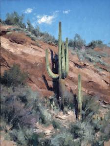 """Saguaros of Coronado Mesa"" - 16"" x 12"" - Oil"