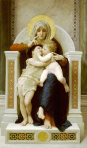 """William Adolphe Borguereau (1825-1905) - """"La Vierge, L'Enfant Jesus et Saint Jean Baptiste"""" - 78.94"""" x 48.03"""" - Oil  (1875)"""