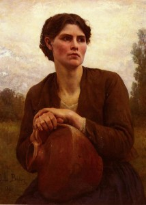 "Jules Breton (1827-1906) - ""The Water Carrier"" - 32.24"" x 24.25"" - Oil"