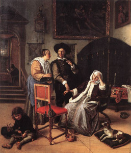 "Jan Steen (1626-1679) - ""Doctor's Visit"" - 19.29"" x 16.54"" - Oil"